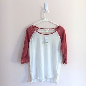 NWT Red/White Forever 21 Baseball Tee S